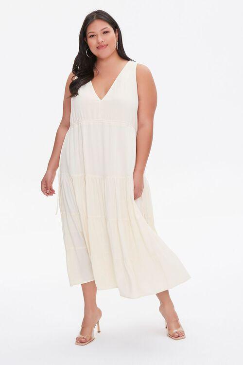 LIGHT YELLOW Plus Size Column Midi Dress, image 2