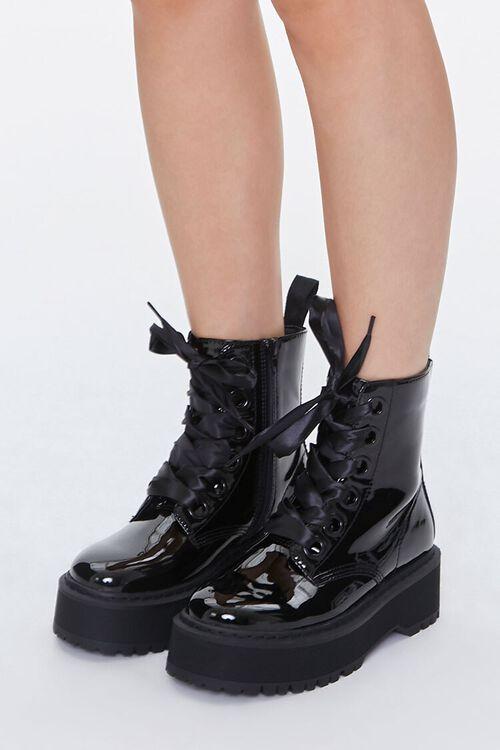 Faux Patent Leather Platform Ankle Boots, image 1