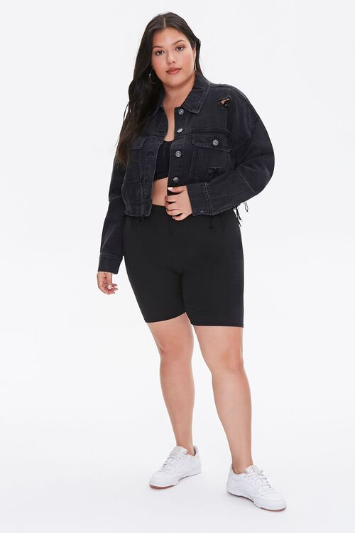 Plus Size Raw-Hem Denim Jacket, image 4