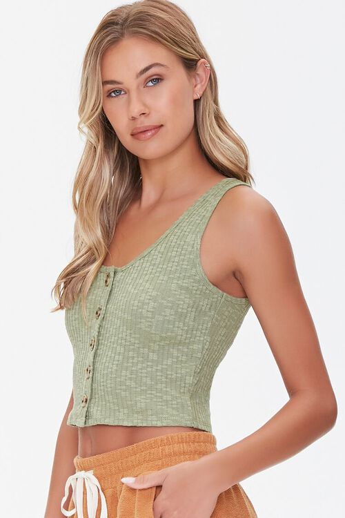 Ribbed Button-Front Tank Top, image 2