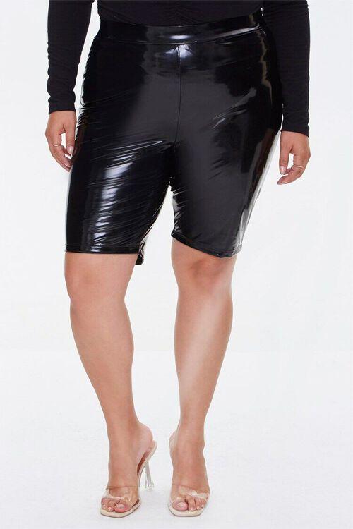 Plus Size Faux Patent Biker Shorts, image 2