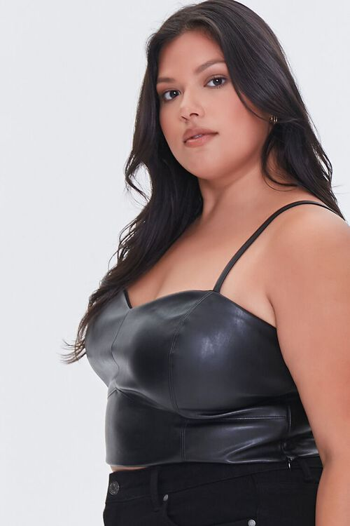 BLACK Plus Size Faux Leather Cropped Cami, image 2