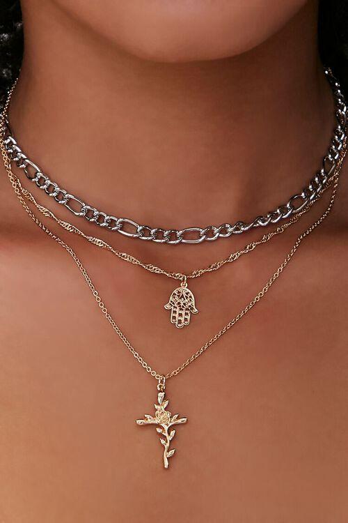 Rose Pendant Layered Chain Choker Necklace, image 1