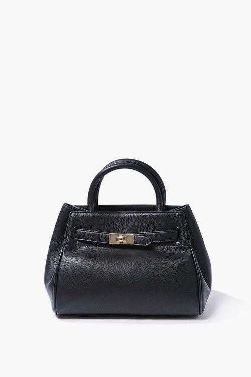 BLACK Faux Leather Pouch Satchel, image 1
