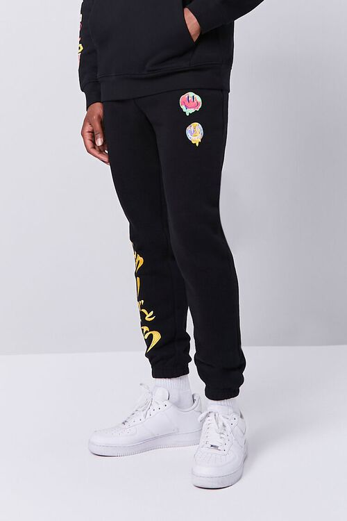 BLACK/MULTI Smiling Face Embroidered Graphic Joggers, image 2