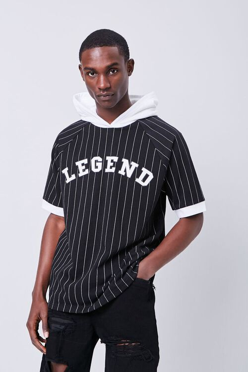 BLACK/WHITE Legend Graphic Striped Hooded Top, image 1