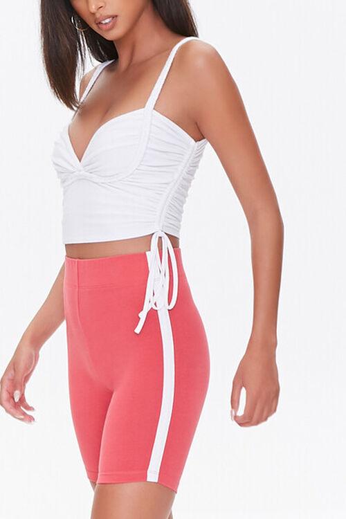 RUST/WHITE Side-Striped Biker Shorts, image 1