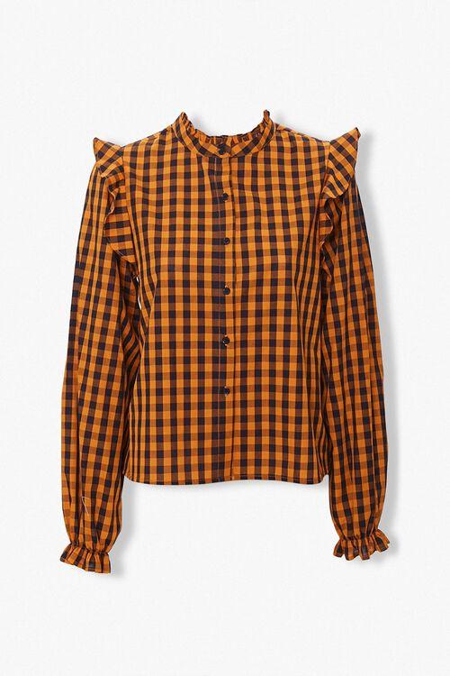 Gingham Ruffle-Trim Shirt, image 1