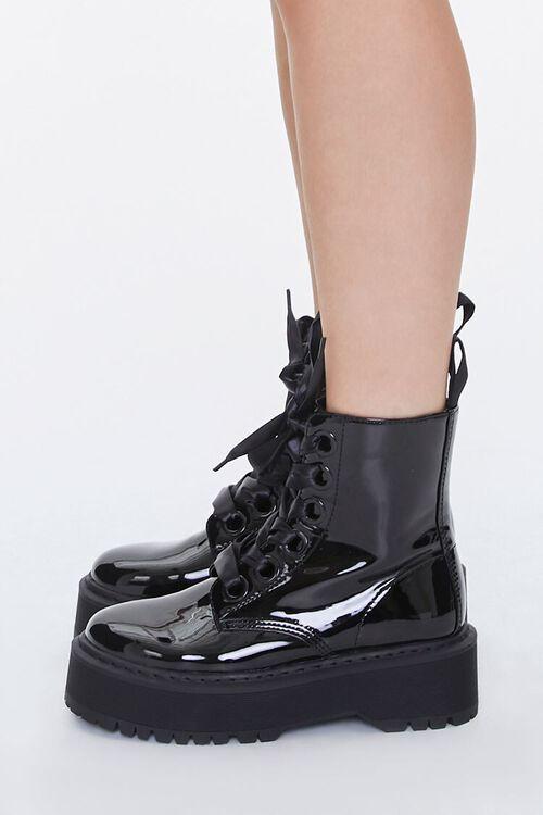 Faux Patent Leather Platform Ankle Boots, image 2