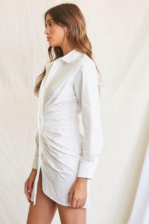 WHITE Ruched Shirt Mini Dress, image 2