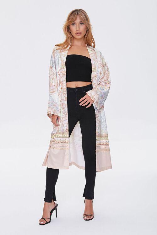 TAUPE/MULTI Ornate Baroque Print Duster Kimono, image 2