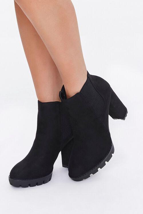 Faux Suede Block Heel Chelsea Boots, image 1
