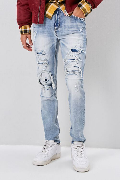 Bleached Distressed-Panel Jeans, image 2