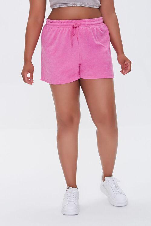 Plus Size French Terry Drawstring Shorts, image 2