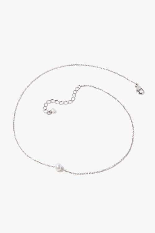 SILVER/CREAM Faux Pearl Charm Necklace, image 3