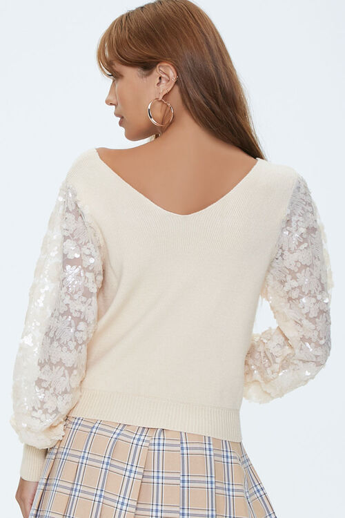 Ribbed Sequin-Sleeve Sweater, image 3