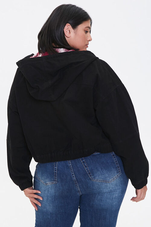Plus Size Plaid-Lined Zip-Up Hoodie, image 3