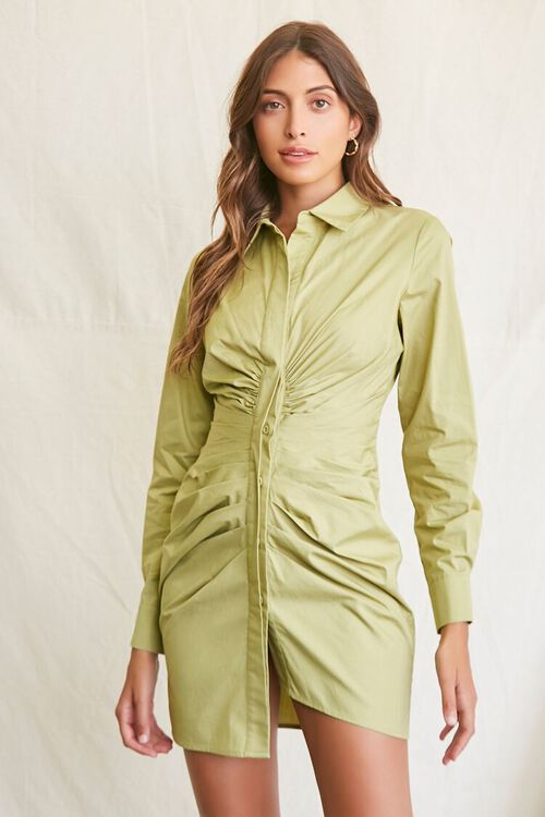 LIGHT OLIVE Ruched Shirt Mini Dress, image 1
