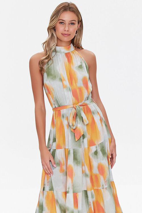 Watercolor Wash Halter Maxi Dress, image 4