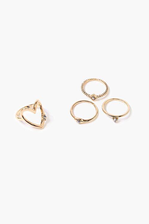 Rhinestone Textured Ring Set, image 1