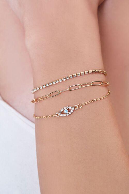 GOLD Evil Eye Charm Bracelet Set, image 1