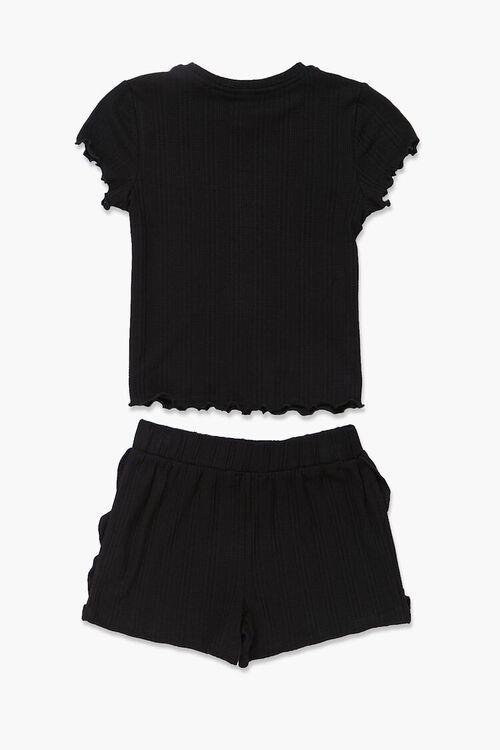 Girls Ribbed Tee & Shorts Set (Kids), image 2