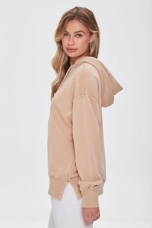 TAUPE French Terry Drop-Sleeve Hoodie, image 2