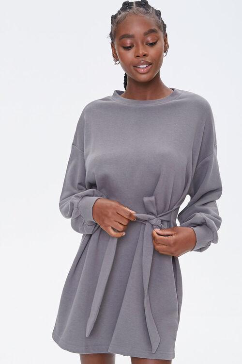 French Terry Tie-Waist Dress, image 1