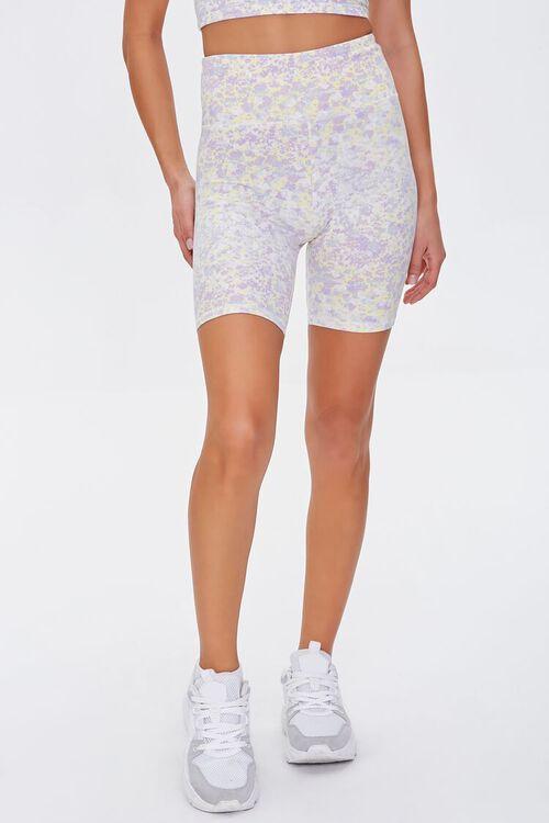 LILAC/MULTI Active Floral Print Biker Shorts, image 2