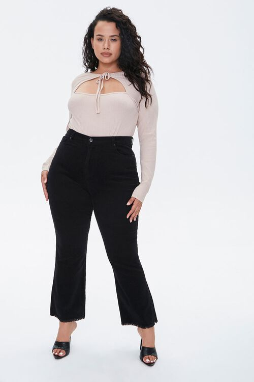 Plus Size Frayed Ankle Pants, image 1