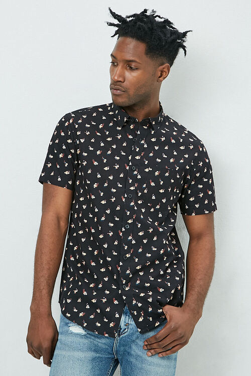 Fitted Ditsy Floral Print Shirt, image 1