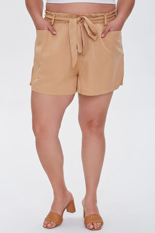 Plus Size Relaxed Tie-Belt Shorts, image 2