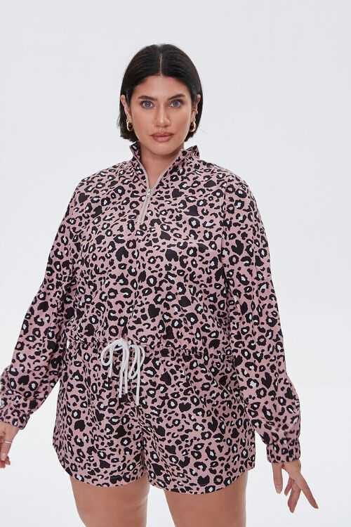 PINK/MULTI Plus Size Leopard Print Drawstring Shorts, image 5