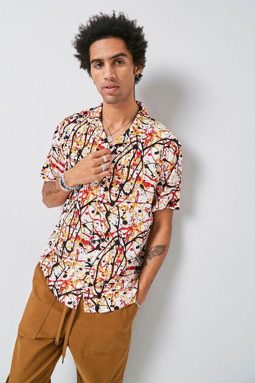 CREAM/MULTI Classic Fit Paint Splatter Shirt, image 1