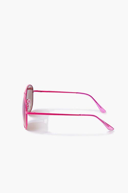 NEON PINK/MULTI Aviator Metal Sunglasses, image 3