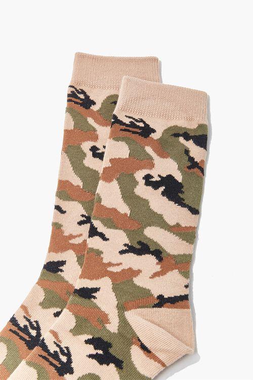 Men Camo Print Crew Socks, image 2
