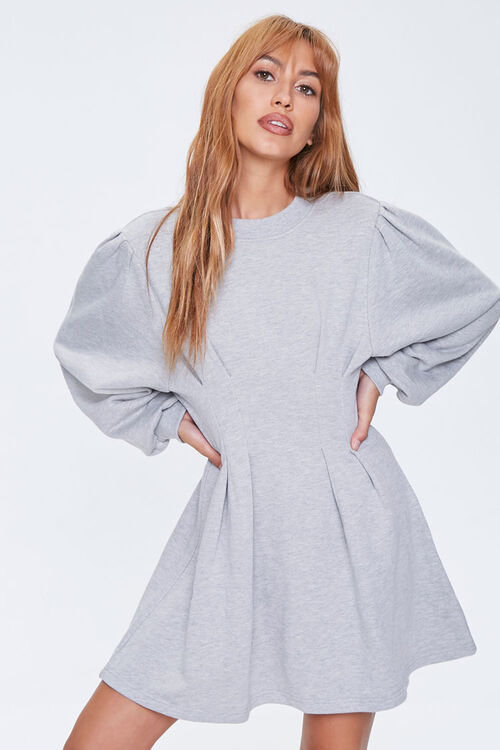 French Terry Pintucked Long-Sleeve Dress, image 1