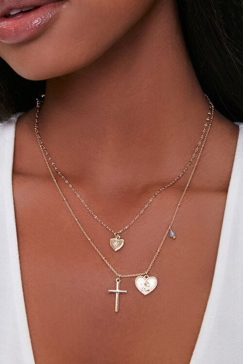GOLD Cross Pendant Layered Necklace, image 1