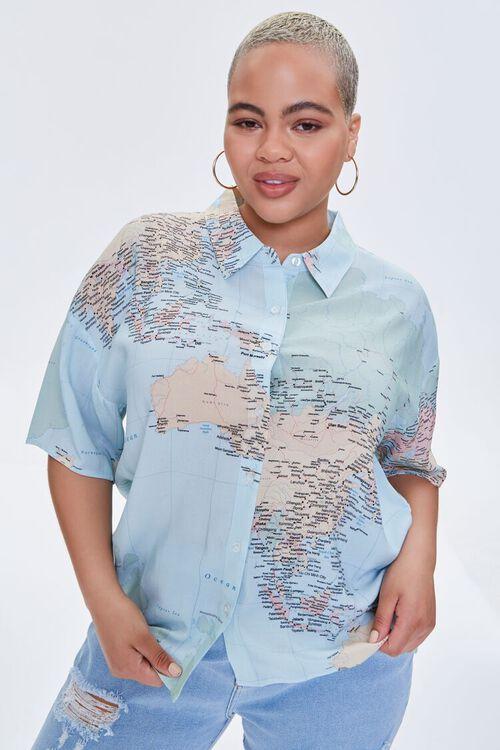 Plus Size Map Print Shirt, image 7
