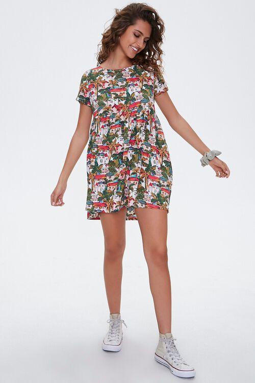Tropical Town Print Dress, image 4