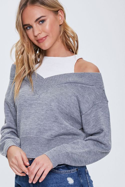Ribbed-Trim Combo Sweater, image 1
