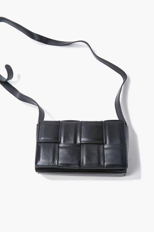BLACK Faux Leather Crosshatch Crossbody Bag, image 3