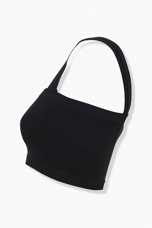 BLACK Ribbed Knit Bralette, image 2