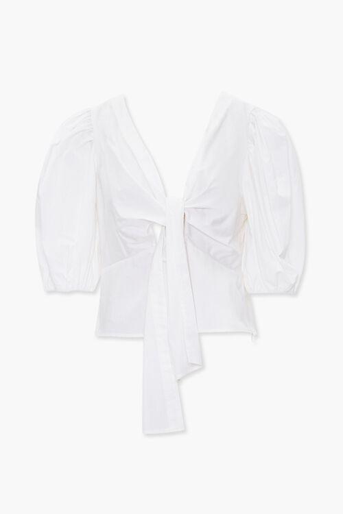 Puff-Sleeve Tie-Front Top, image 1