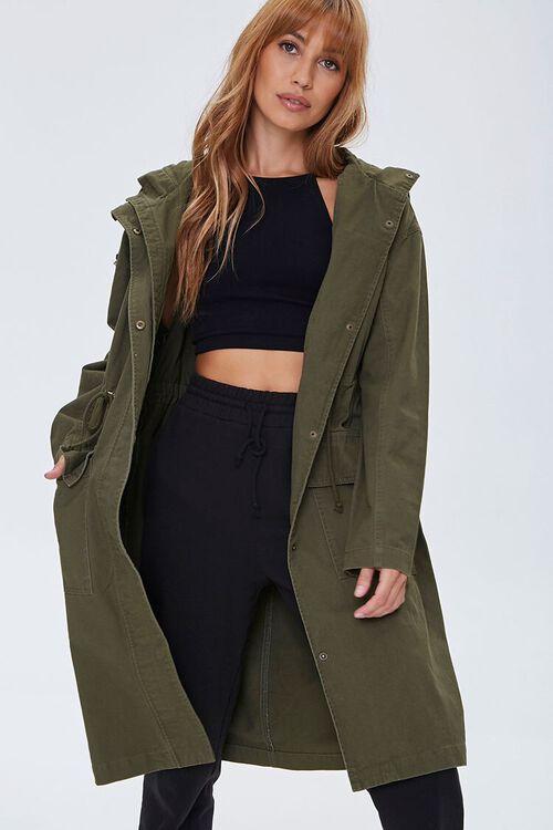 Drawstring Hooded Longline Jacket, image 4
