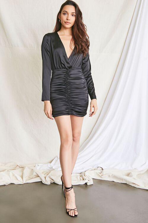 BLACK Satin Ruched Mini Dress, image 4