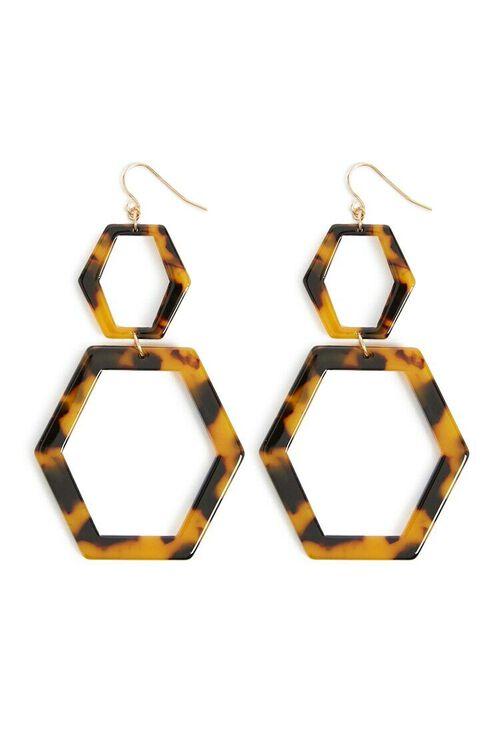 Tortoiseshell Hexagon Earrings, image 2