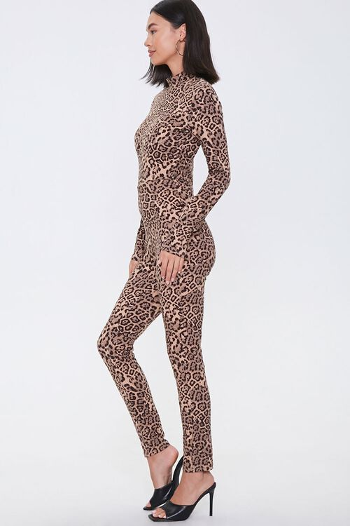 Leopard Print Mock Neck Jumpsuit, image 2