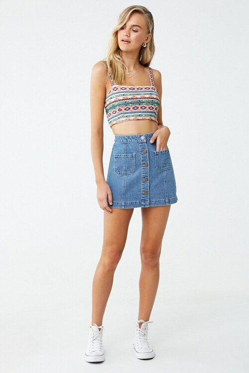 Denim Button-Front Skirt, image 5