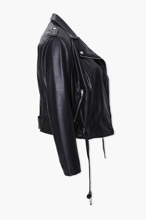 Plus Size Faux Leather Moto Jacket, image 2